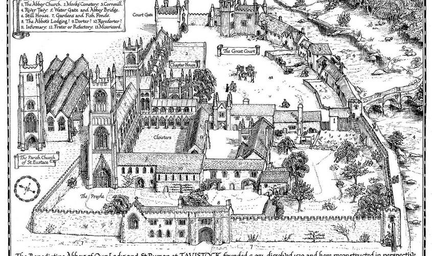 Mrs JHP Finberg's illustration of Tavistock Abbey.
