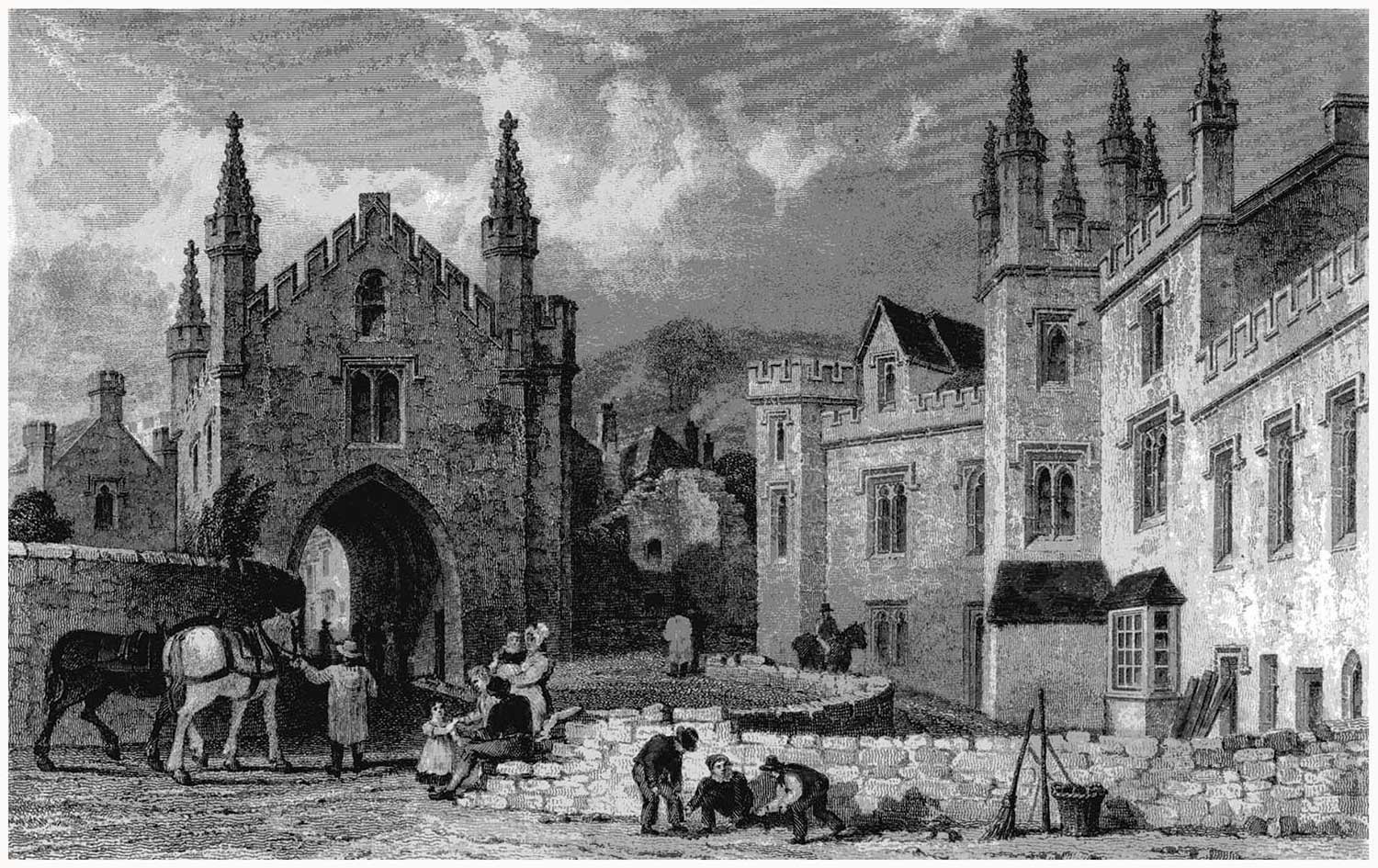 Court Gate and the Tavistock Guildhall, c. 1830