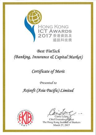Axisoft wins the Best FinTech in HK ICT Awards