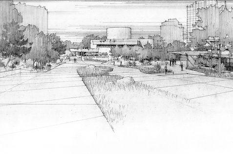 Kalita Humphreys Theater/Dallas Theater Center Master Plan, Dallas Municipal Archive.Samuel Ringman, artist