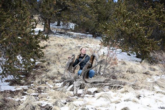 senior portrait in the mountains