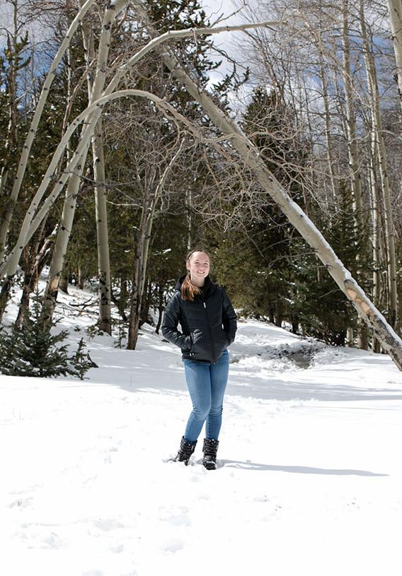 Senior portrait in the snow