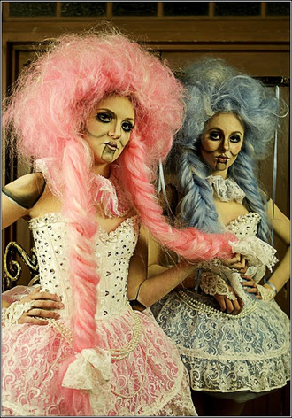 Fantasy wig, makeup, props, costume, body paint - Circus dolls
