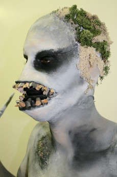 Bald cap, latex mask, prosthetics, body paint, costume