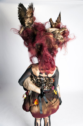 Fantasy wig, prosthetic, makeup, body paint, costume, props