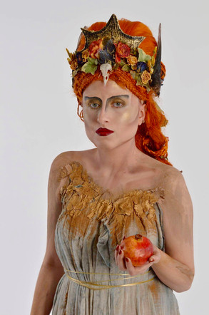Fantasy wig, makeup, body paint, costume, props
