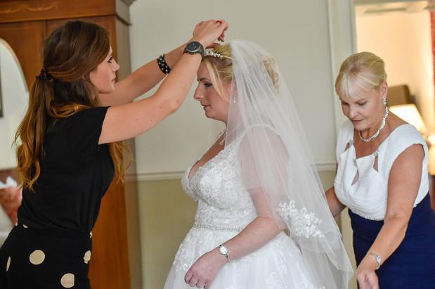 Finishing touches on Amys wedding day