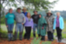 Tim, Debbie, Justin, & Jordann Claibourn posing with family after planting the second acre of lavender at Cowlitz Falls Lavender Company.
