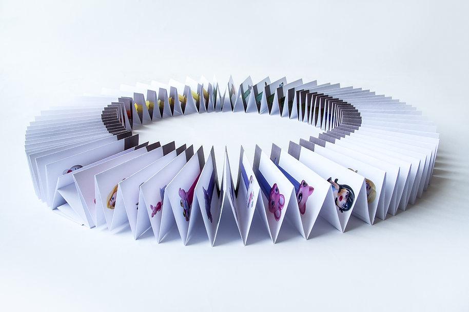 Pez dispenser collection concetina paper fold artwork