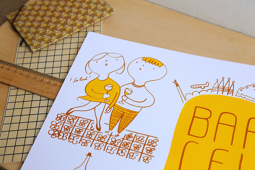 Screenprint Barcelona yellow.j