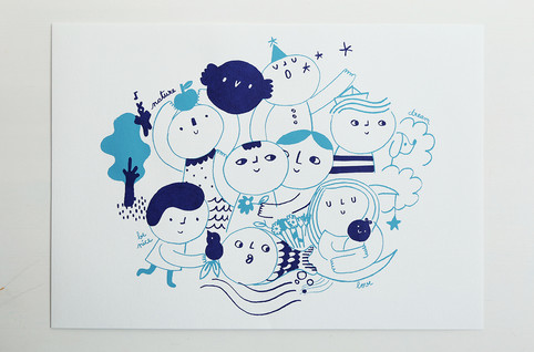 Screenprint People blue