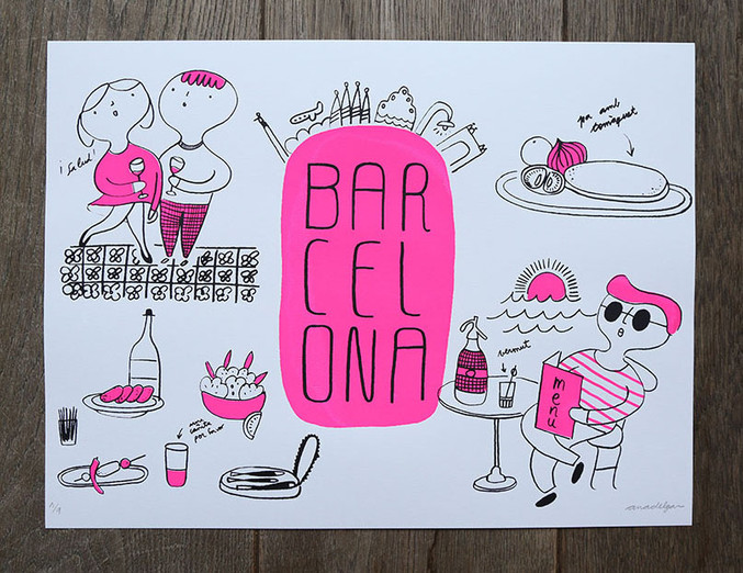 Screenprint Barcelona pink