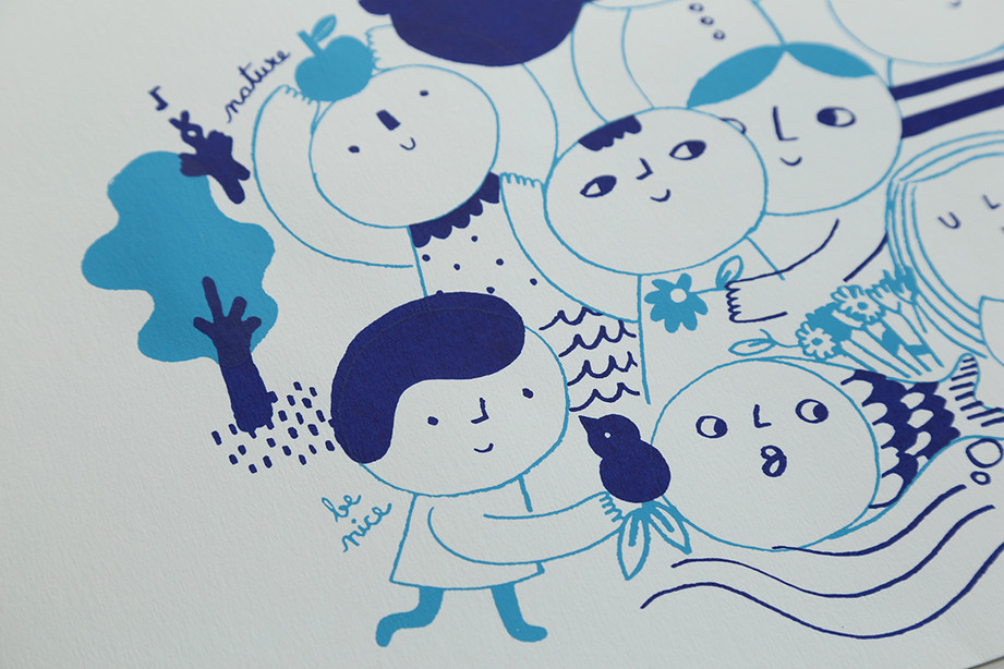 Screenprint People blue