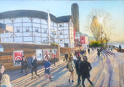 Shakespeare's_Globe,_Sunset._Oil_on_Boar