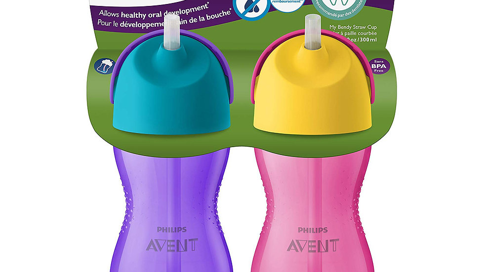 Philips Avent My Bendy Straw Cup, 10oz, 2pk, Pink/Purple, SCF792/22