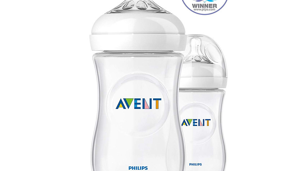 Philips AVENT Natural 9 Oz Bottle, 2 Pack, Clear