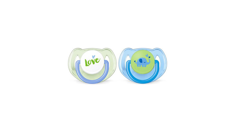 Philips Avent Classic Pacifier, 6-18 months, blue/green elephants, 2 pack