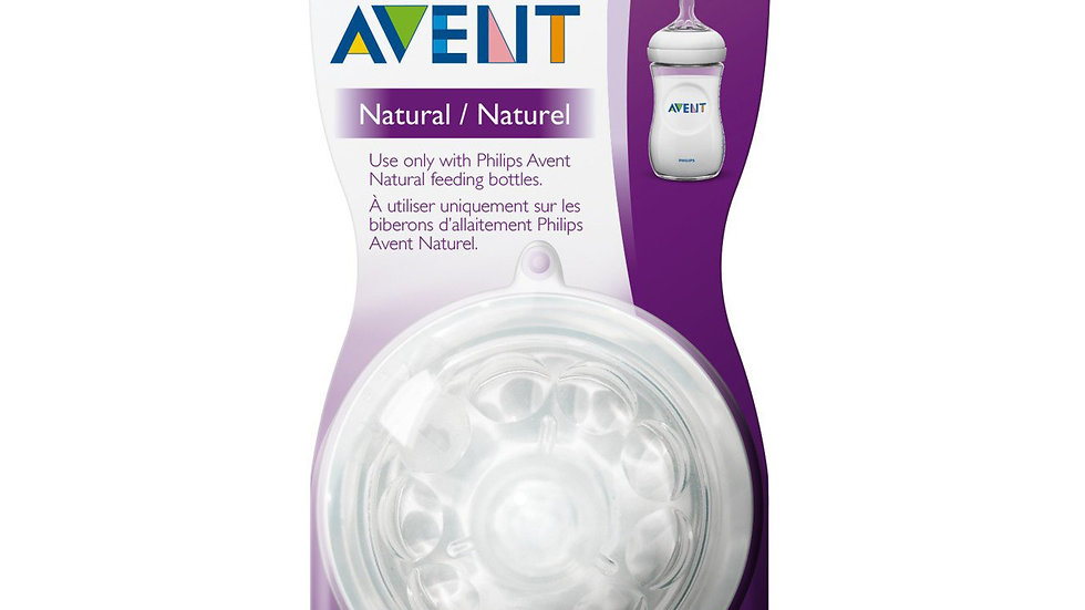 Philips Avent Natural Baby Bottle Nipple, Fast Flow Nipple 6M+, 2pk, SCF654/23