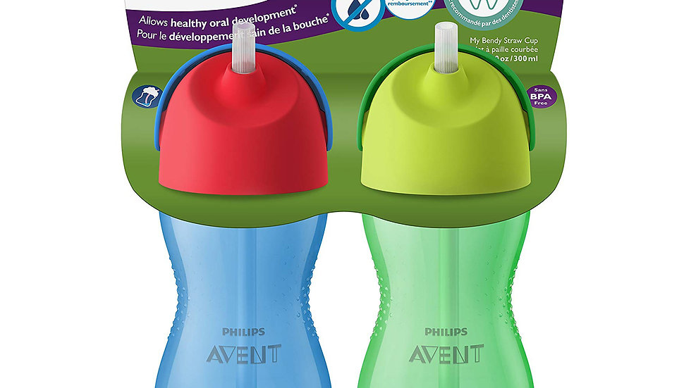 Philips Avent My Bendy Straw Cup, 10oz, 2pk, Blue/Green, SCF792/21