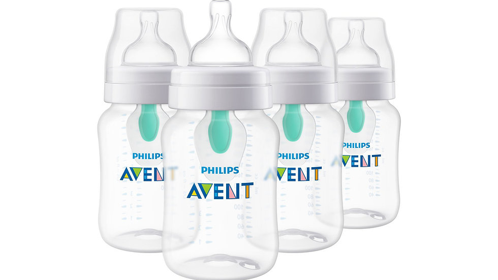 Philips Avent Anti-colic Bottle with AirFree vent, Clear, 9oz, 4pk, SCF403/44