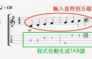 將五線譜轉為TAB譜