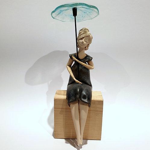 Dama z parasolką czarna