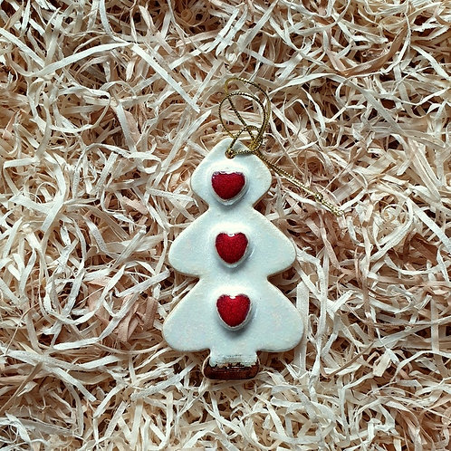 Christmas tree in hearts pendant