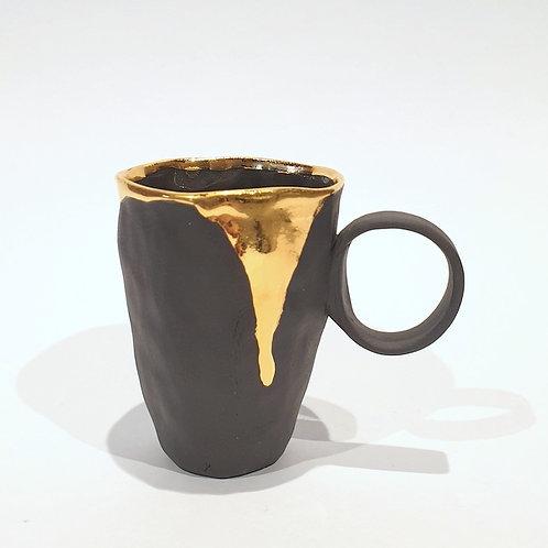 Kubek porcelanowy espresso zaciek - czarny mat