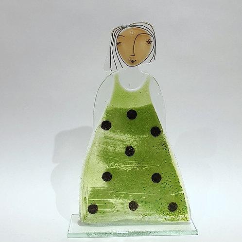 Pani - zielona sukienka w kropki