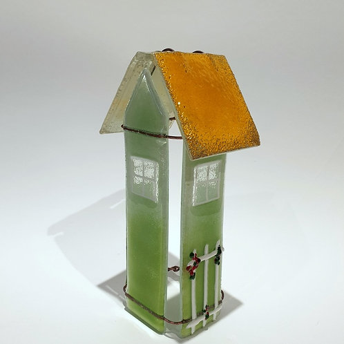 Szklany domek tealight zielony