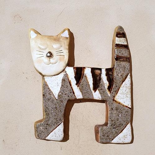 Kot kwadrat szaro-biały