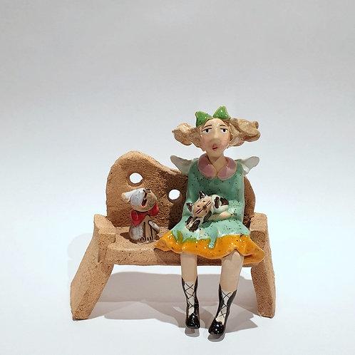Na ławeczce - z pieskiem i kotkiem2