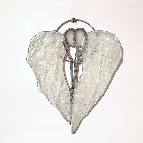 Anielskie skrzydła-serce podwójne - witraż