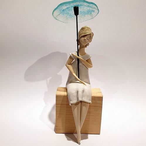 Dama z parasolką biała