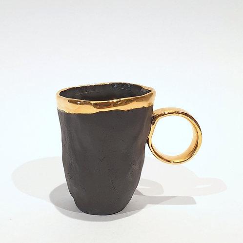 Kubek porcelanowy espresso złote ucho - czarny mat