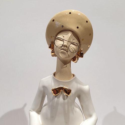 Dama z torebką - biała