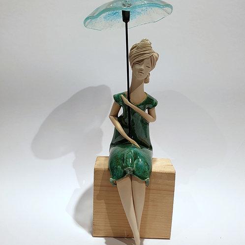 Dama z parasolką zielona