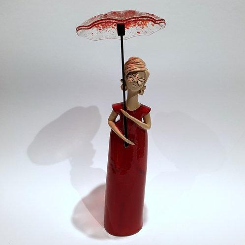 Dama z parasolką czerwona stojąca