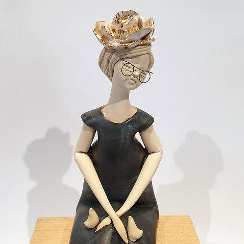 Dama z kwiatem - czarna