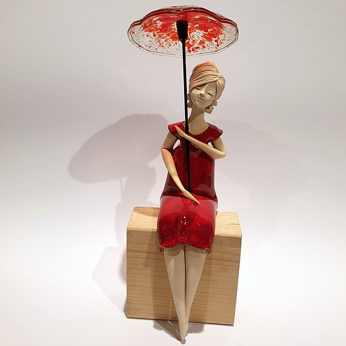 Dama z parasolką czerwona