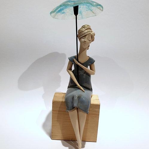 Dama z parasolką szara