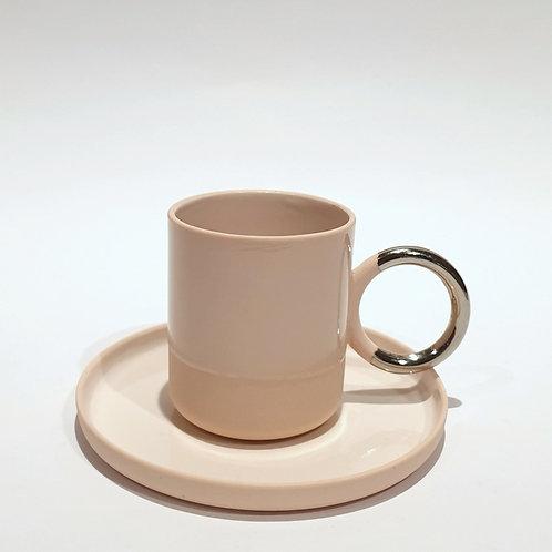 Filiżanka espresso ring - kremowy róż