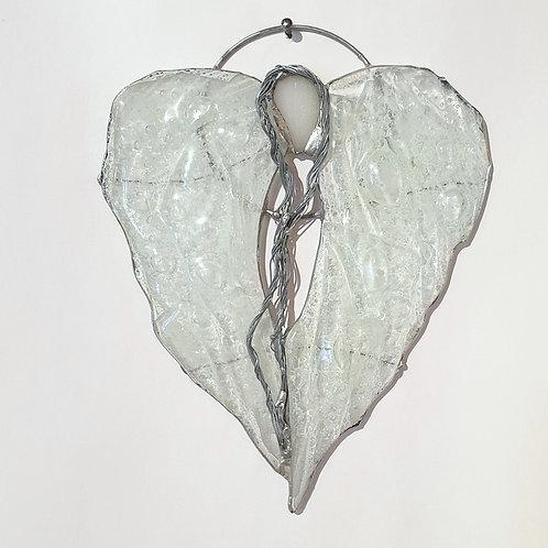 Anielskie skrzydła-serce - witraż