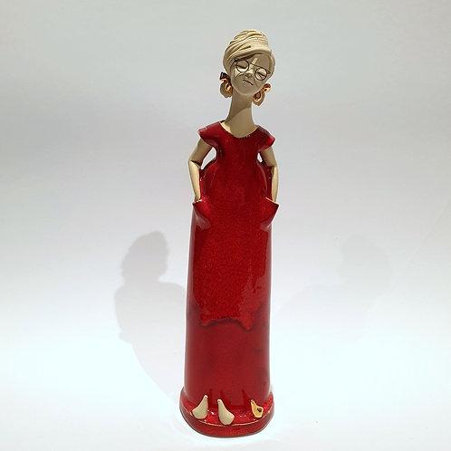 Dama czerwona stojąca