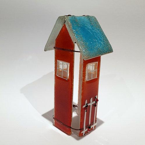 Szklany domek tealight czerwony