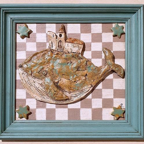 Wieloryb - obraz ceramiczny