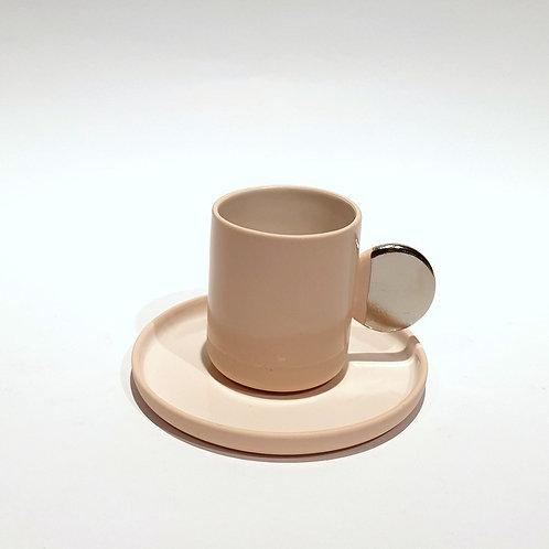 Filiżanka espresso uszatka - kremowy róż
