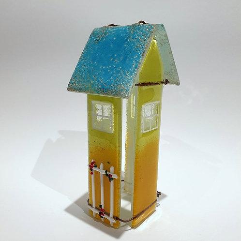 Szklany domek tealight żółty