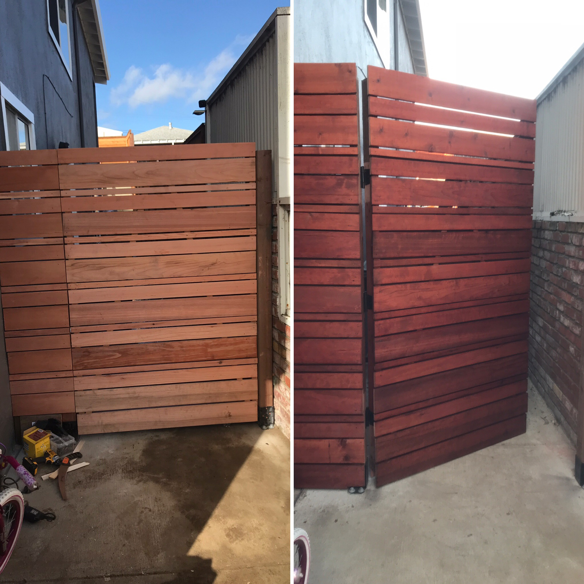 Gate before and after stain
