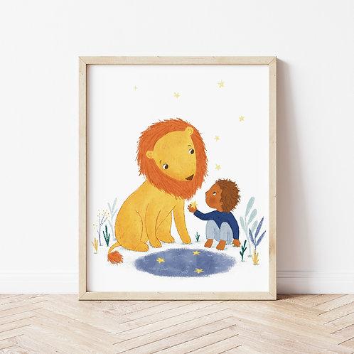 Lion & Boy Printable 8x10
